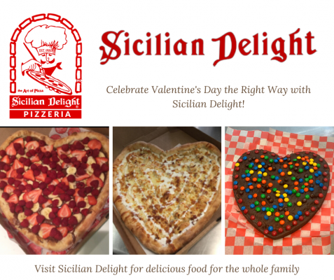 Heart Shaped Pizza and Brownie