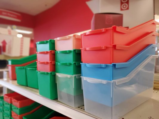 Red, blue, green, clear, and pink bins.
