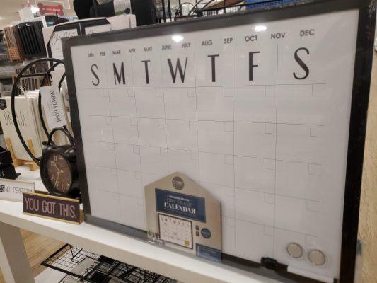 Black and White Whiteboard Calendar.